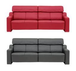 Red an black sofa.