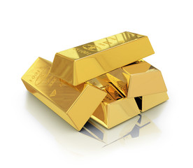 gold bars with reflection on white background