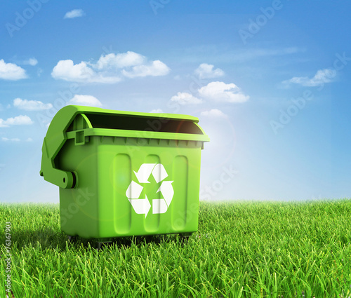 Green plastic trash recycling container ecology concept, with la - 76367903