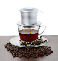 Vietnamese coffee brewing