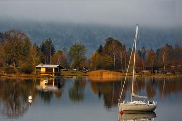 Small yacht on a lake