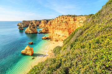 A View of Benagil beach in Algarve region, Portugal, Europe