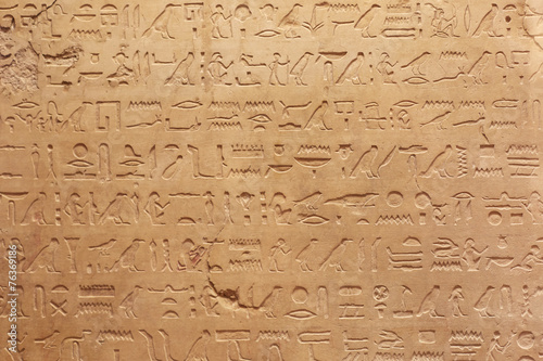 Spoed canvasdoek 2cm dik Egypte Egyptian hieroglyphs stone background