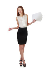 Woman in black skirt holding  paper documents over white
