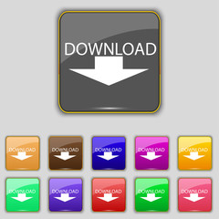 Download icon. Upload button. Load symbol. Set o