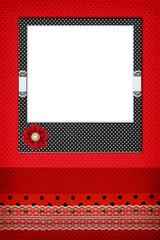 Photo frame on red polka dot background