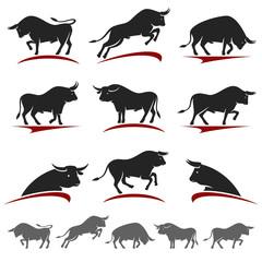 bull set. Vector