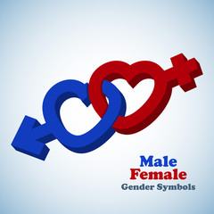 Male and female 3D gender symbols