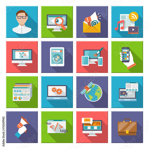 Seo Internet Marketing Flat Icon - 76369965