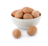 eggs in the bowl isolate on white - 76370187