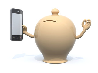 money box with arms and smartphone