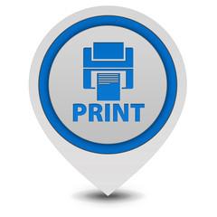Print pointer icon on white background