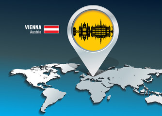 Map pin with Vienna skyline