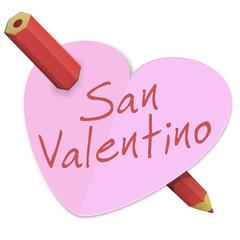 Cuore di San Valentino trafitto con una matita