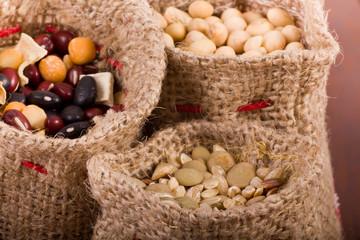Cereals in sacks