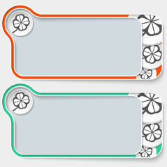 set of two abstract text boxes and cloverleaf