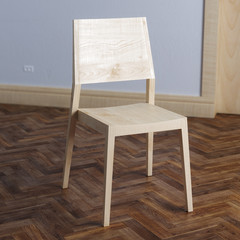 Wooden chair in new modern interior room with parquet