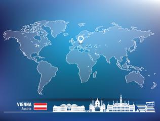 Map pin with Vienna skyline
