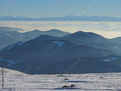 canvas print picture Schwarzwald mit Alpen