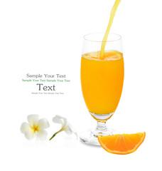 pouring orange juice isolated on white