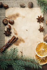Christmas background and spices