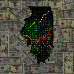 Illinois map with hex code and graphs on dollars illustration