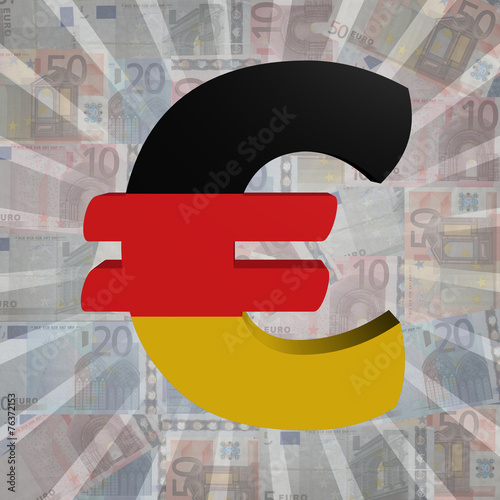 canvas print picture Euro symbol with German flag on Euro currency illustration