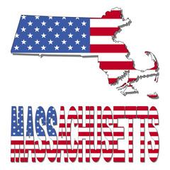 Massachusetts map flag and text illustration