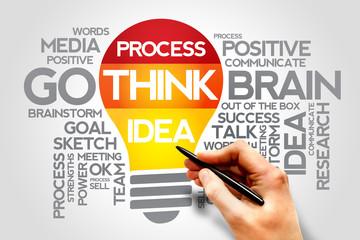 Creative think idea process bulb words cloud