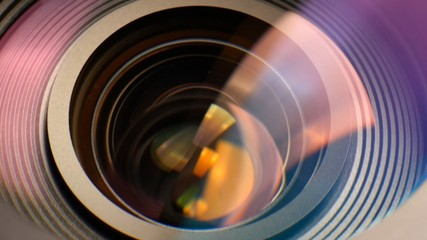 Closeup of a zooming camera lens