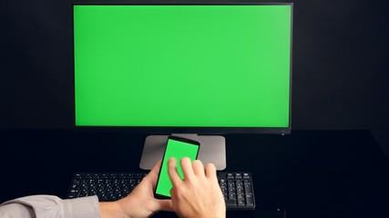 PC green screen background. Ultra HD, 4K