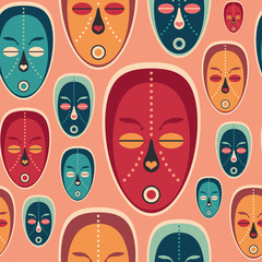 Colorful seamless pattern with love ethnic masks.