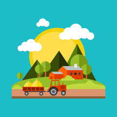 Color vector flat illustrations village landscapes. Nature,