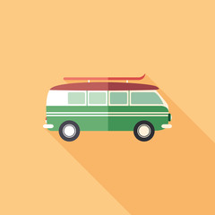 Colorful retro minivan flat square icon with long shadows.