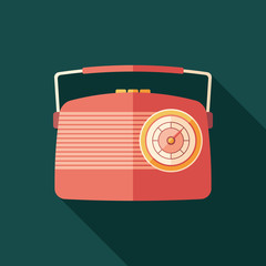 Red vintage radio flat square icon with long shadows.