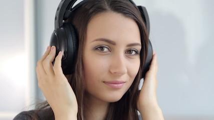 Pretty Woman in Headphones