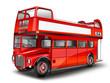 Leinwanddruck Bild - roter Bus - Cabriolet. Englischer Doppeldeckerbus, freigestellt