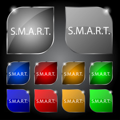 Smart  sign icon. Press button. Set of colored button