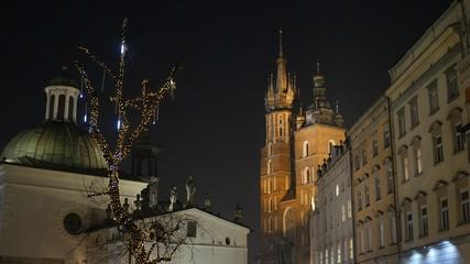 Krakow Market Square in the nighttime, Poland. UHD, 4K
