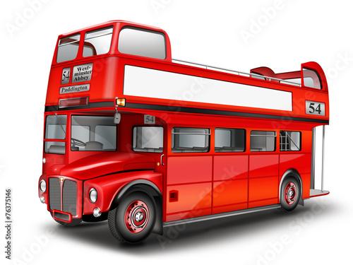 Leinwanddruck Bild roter Bus - Cabriolet. Englischer Doppeldeckerbus, freigestellt