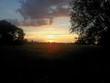canvas print picture - Sonnenuntergang über einer Wiese