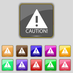 Attention caution sign icon. Exclamation mark. Haz