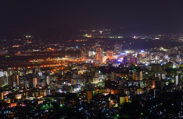 Cityscape of Morioka at night in Iwate, Japan