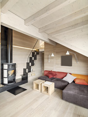 modern living room with fireplace and wood floor