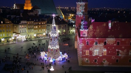 Christmas decorations in Warsaw, Poland. UHD, 4K