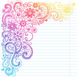 Flowers Back to School Sketchy Notebook Doodles Vector