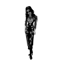 cartoon black and white girl in a long dress in the Gothic style