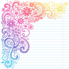 Flowers Back to School Sketchy Notebook Doodles Vector