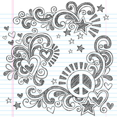 Peace and Love Back to School Sketchy Notebook Doodles Vector