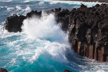 mer forte à Langevin, île de la Réunion